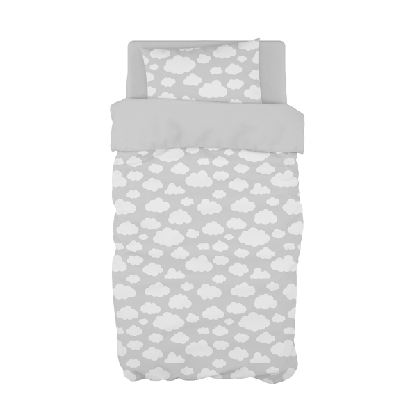 Grey Cloudy Cot Duvet Set