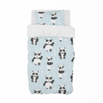 Blue Playful Panda Cot Duvet Set