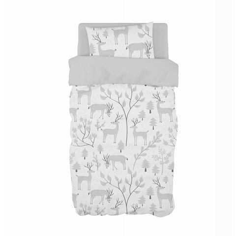 Grey Snowy Woodland Cot Duvet Set