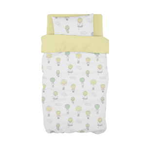 Mint and Yellow Up and Away Cot Duvet Set