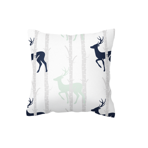 Navy and Mint Birch Stags Scatter Cushion