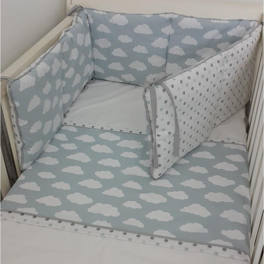 Clouds And Spots Cot Set Blue/Grey