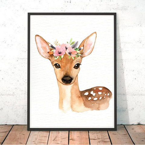 Painted Boho Deer Print