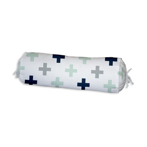 Navy/Mint/Grey Swiss Cross Bolster Cushion