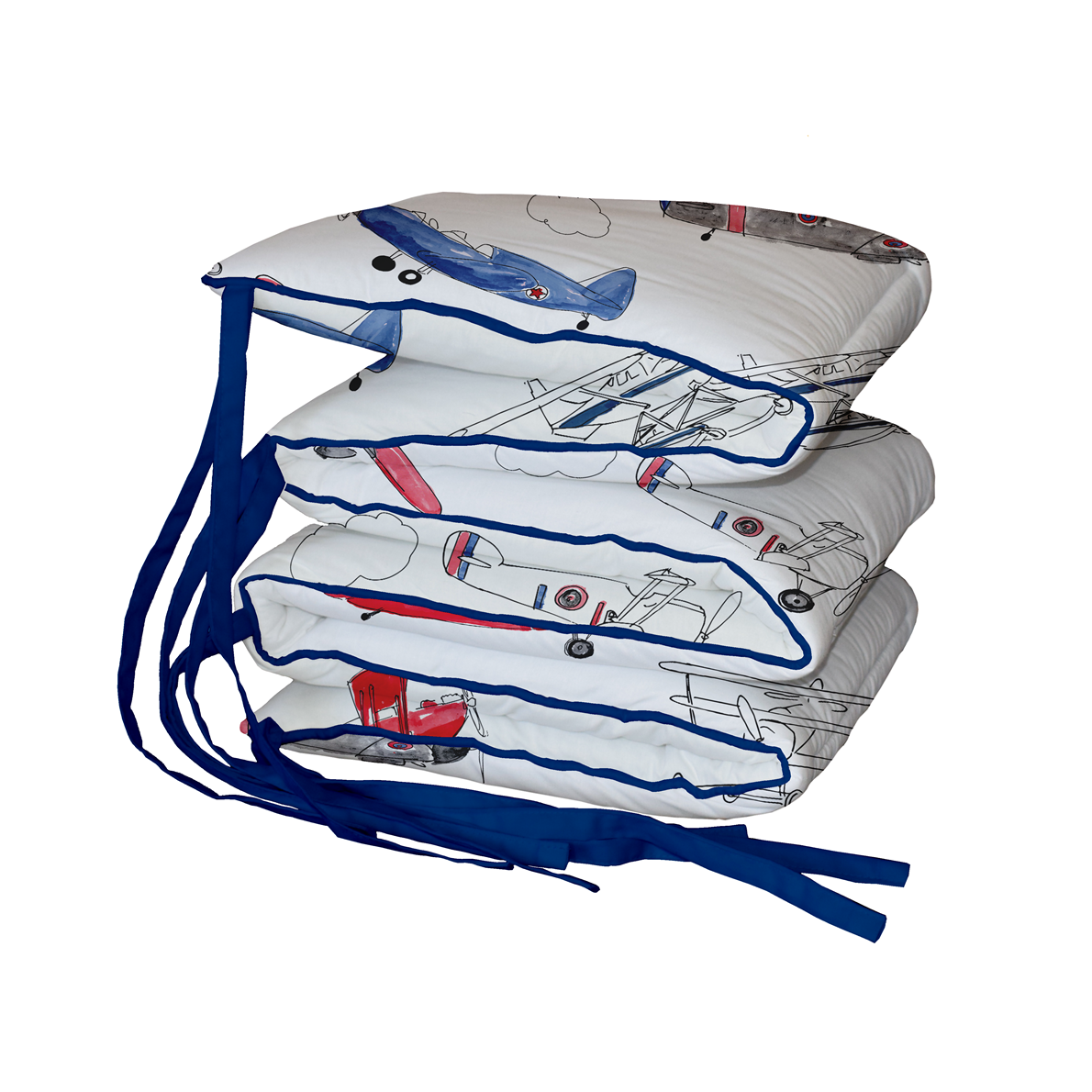 Red and Blue Air Show Padded Cot Bumper
