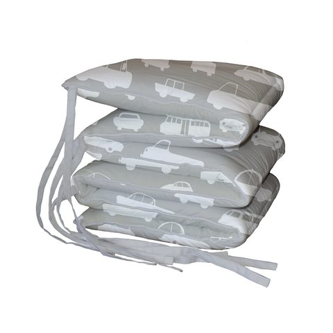 Grey Traffic Padded Cot Bumper