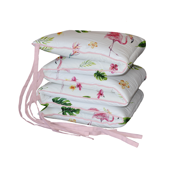 Tropical Flamingo Padded Cot Bumper
