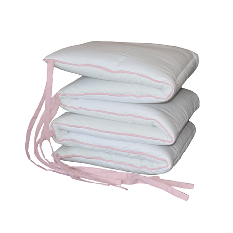 Baby Pink Piping White Padded Cot Bumper