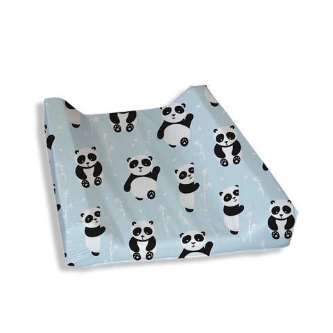 Blue Playful Panda Change Mat Cover