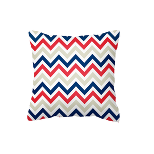 Red/Stone/Navy Chevron Scatter Cushion