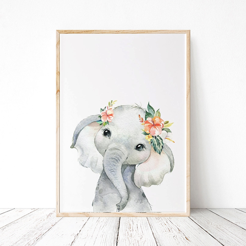 Painted Floral Baby Elephant Print