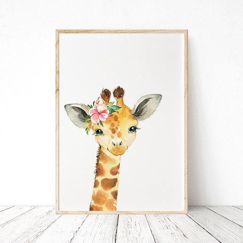 Painted Floral Baby Giraffe Print