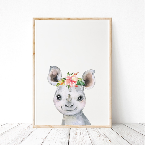 Painted Floral Baby Rhino Print