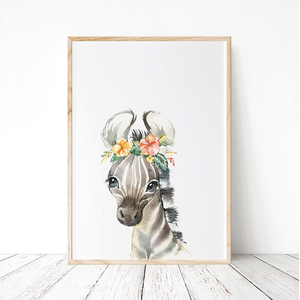 Painted Floral Baby Zebra Print