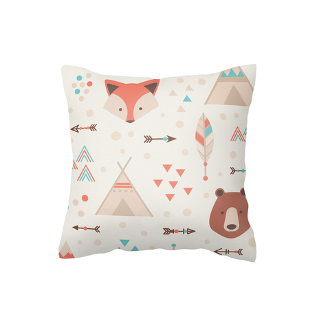 Fox and Bear Scatter Cushion