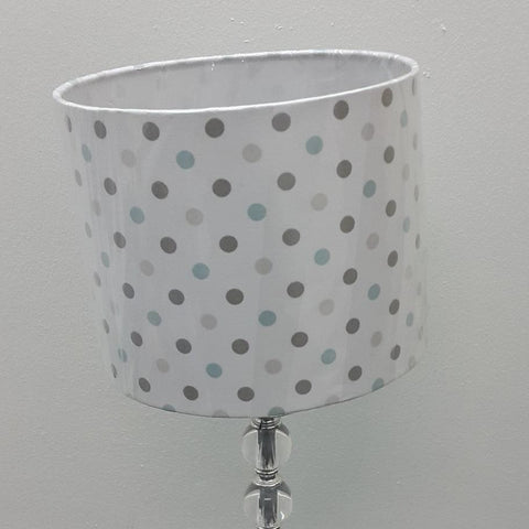 Grey/Blue Spots Drum Lamp Shade