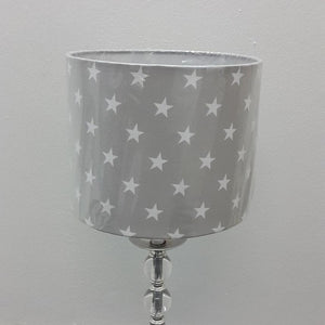 Grey Stars Drum Lamp Shade