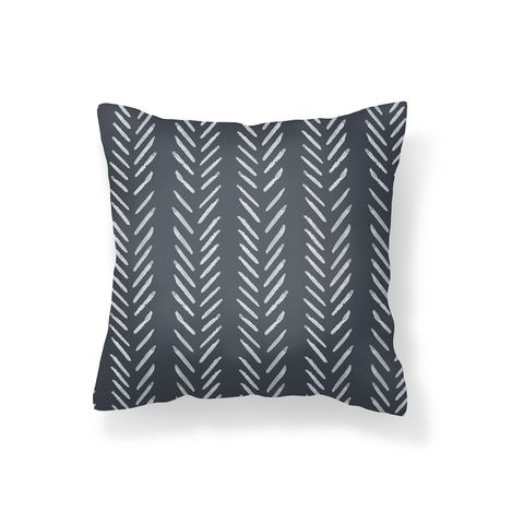 Dark Grey Herringbone Scatter Cushion