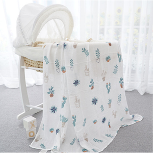 Cactus Pots Muslin Swaddle Blanket