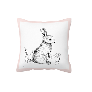 Sketch Bunny Pink Scatter Cushion Cover