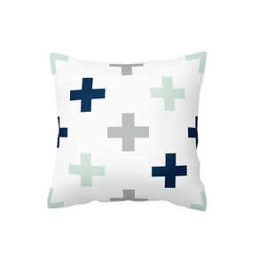 Swiss Cross Navy/Mint/Grey Scatter Cushion Cover