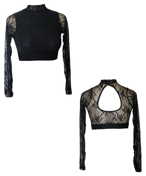 64e66ab9b1d High Neck Lace Crop Top with Long Sleeves (LCTOP) - Turning Point