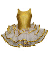 Sleeveless Ballerina Glitter Tutu with Ribbon & Glitter Overlay