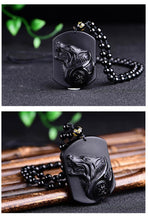 Jet Black Obsidian Wolf Necklace - from DailyDealDr.com