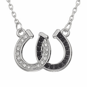 Black and White Rhinestone Horseshoe Necklace