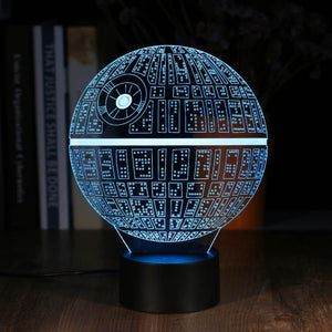 Glowing 3D Effect Death Star Night/Table Light