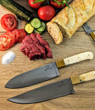 5-piece Knochen Chef Knife Set with White Camel Bone and Brass Bolster
