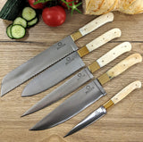 Knochen - 5 Piece chef Set - White Camel bone & brass bolster