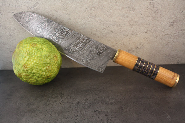 Chef Utility Knife with Multi-wood and Olive Wood Handle