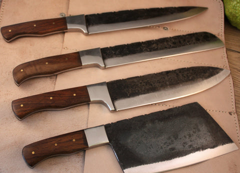 Traditional Carbon Steel 4 Piece Chef Knife Set  - Ebony Wood Handle