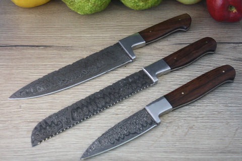 3 piece Damascus Steel Chef Knife Set - Ebony Wood
