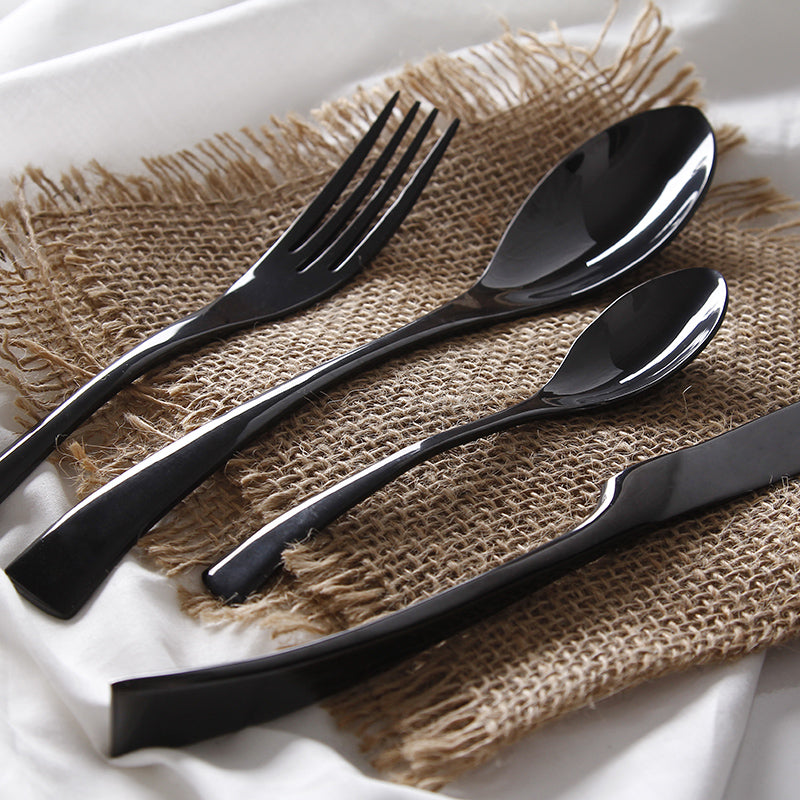 Stainless Steel Matte Black Cutlery Set - Leisure Merchants