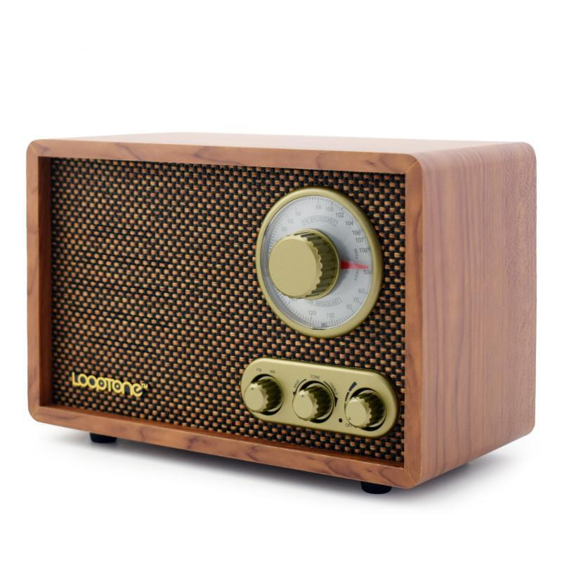 Bluetooth Radio Retro Wood Veneer Top - Leisure Merchants