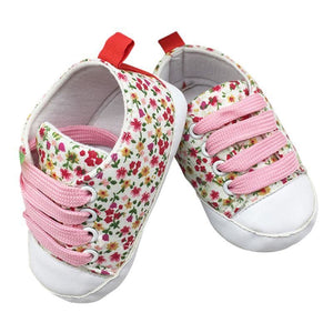 Floral Lace Up Baby Shoes - Leisure Merchants