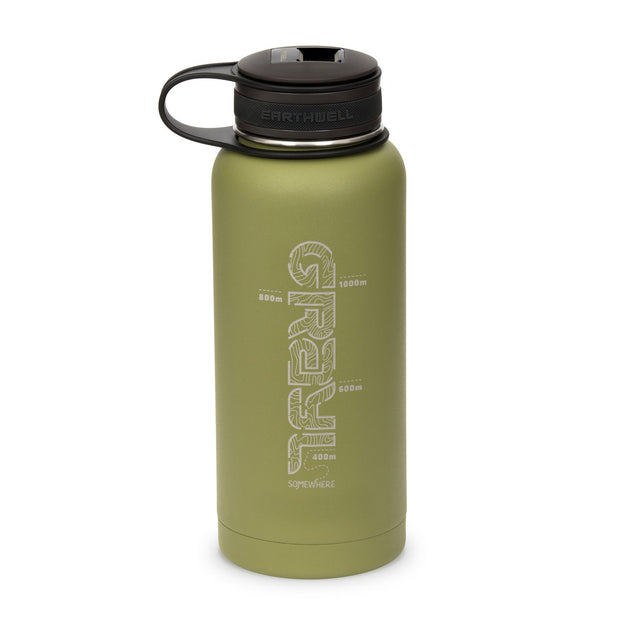 Gral x Earthwell Kewler Double Walled Vacuum Insulated Flask with Bottle Opener Cap (945ml) - Sequoia Green