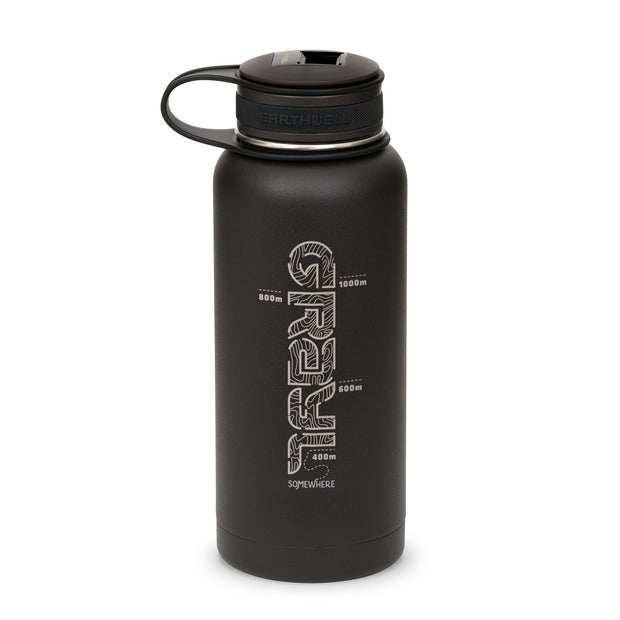 Gral x Earthwell Kewler Double Walled Vacuum Insulated Flask with Bottle Opener Cap (945ml) - Volcanic Black
