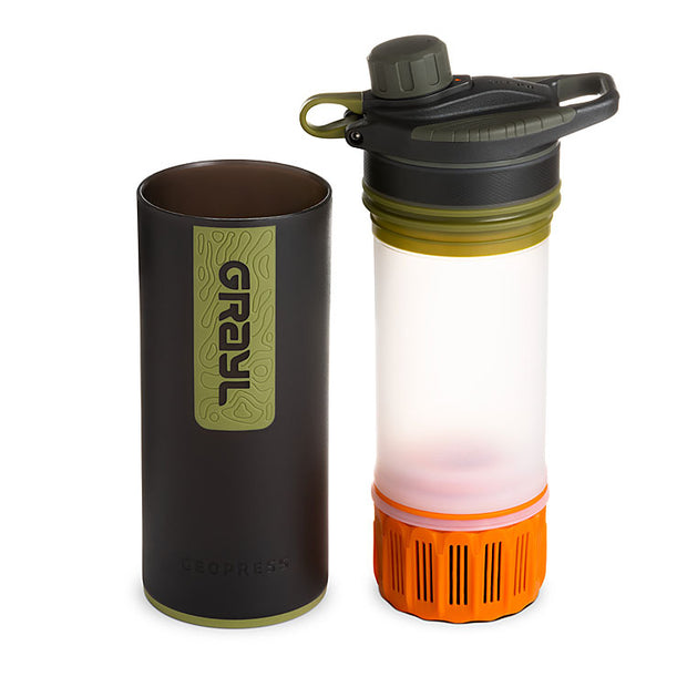 Grayl Geopress Purifier in Camo Black (showing water filter)
