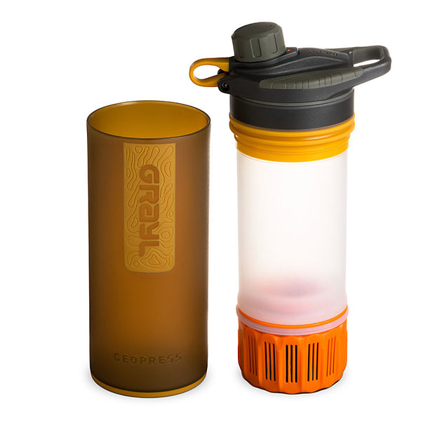 Grayl Geopress Purifier in Visibility Orange (showing water filter)