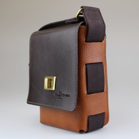 Luxury  British made leather compact travel bag in tan and dark brown by Sam Brown London