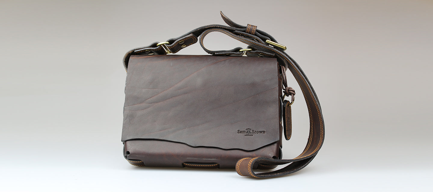 sam brown london sam browne leather makes hand made British bridle leather with raw edge flap made in Wiltshire, UK