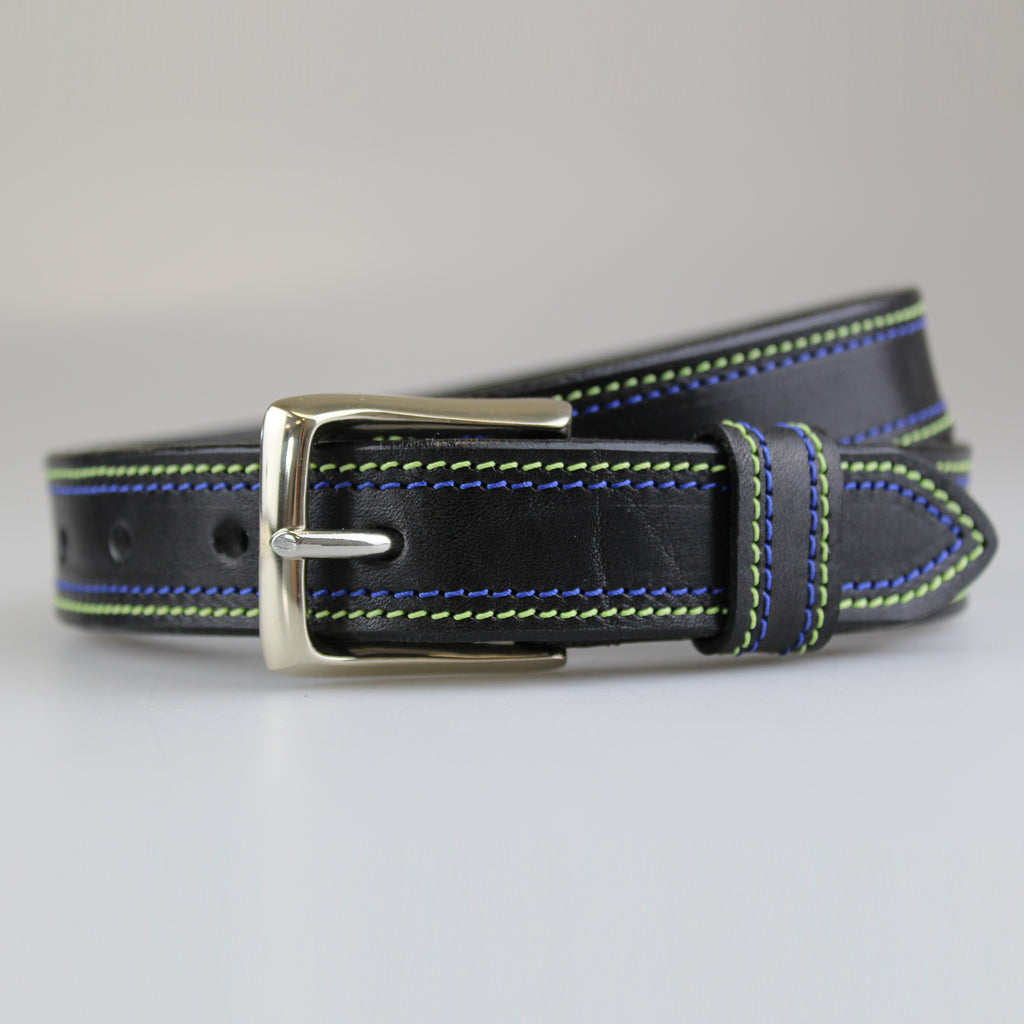 Black jean chino belt for men and women with green & blue stitching on edges-Made BY Sam Brown London England