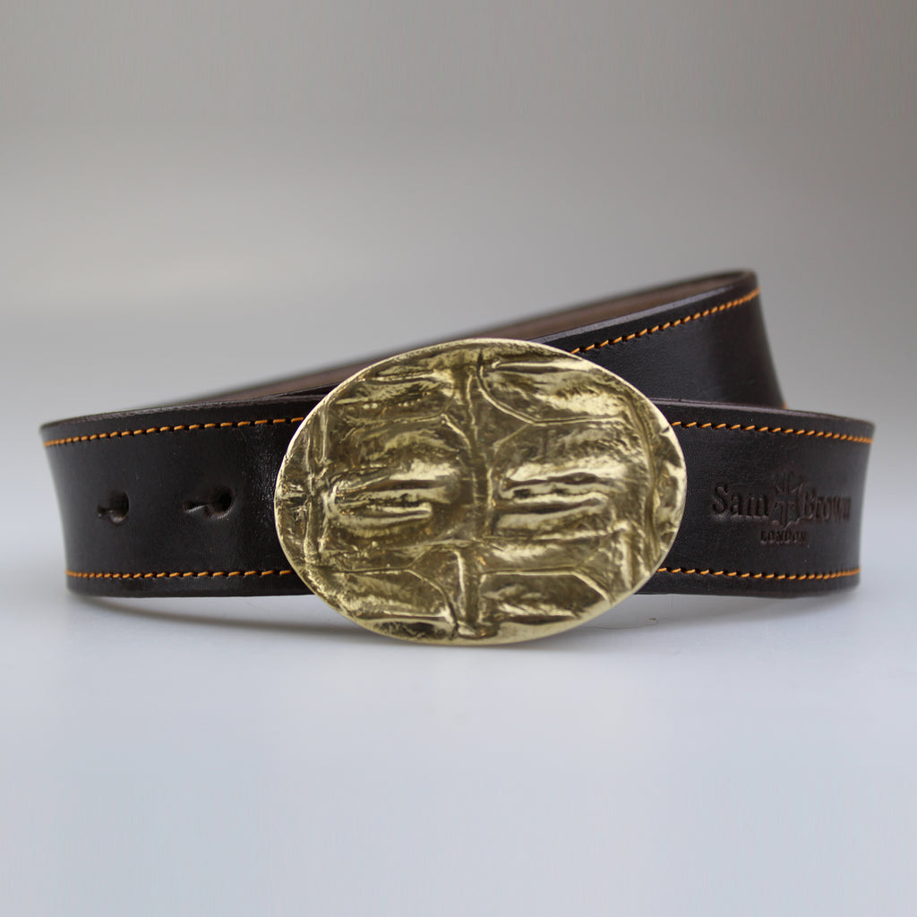 Beautiful Croc pattern oval buckle in solid brass with rich brown English bridle leather  strap with yellow stitch made to order by Sam Brown London in Wiltshire UK