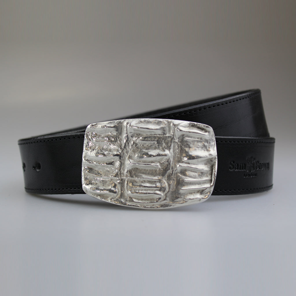 Beautiful Croc pattern oblong buckle silver plated on solid brass with black English bridle leather  strap with BLACK stiitch made to order by Sam Brown London in Wiltshire UK