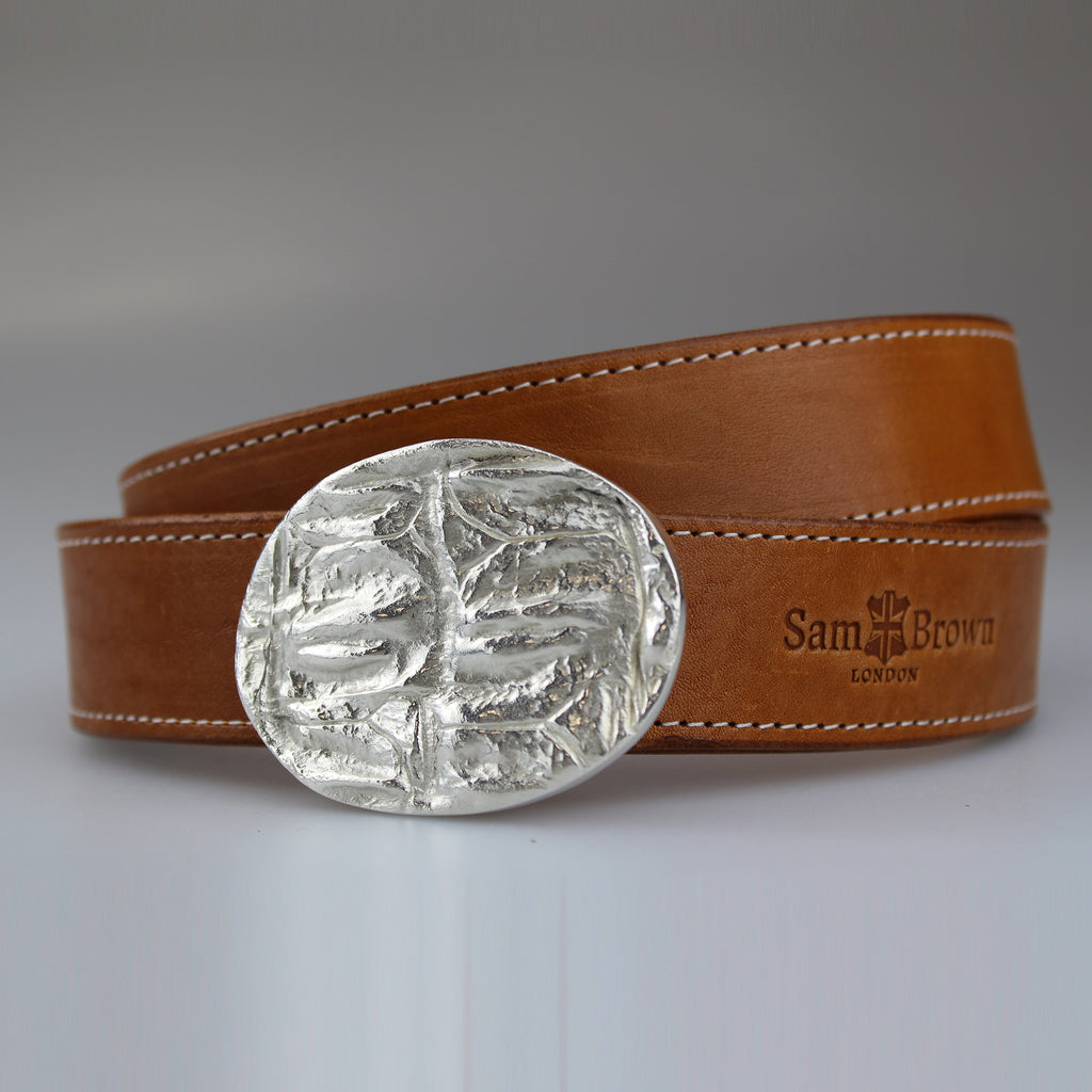 Beautiful English  tan bridle leather with ivory stiitch and silver plated on brass oval buckle made to order by Sam Brown London in Wiltshire UK