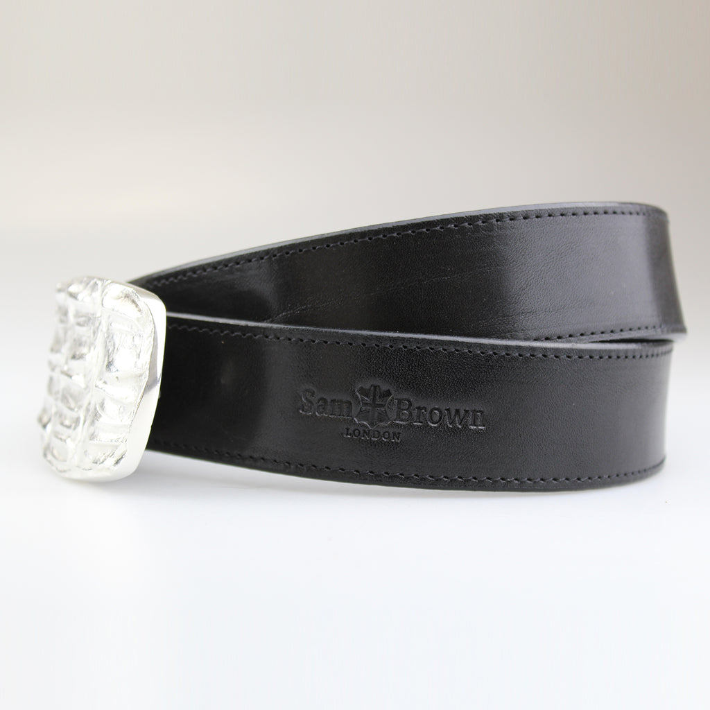 side view Beautiful Croc pattern oblong buckle silver plated on solid brass with black English bridle leather  strap with BLACK stiitch made to order by Sam Brown London in Wiltshire UK