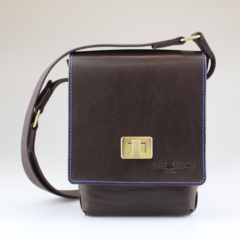 Dark-brown-English-bridal-leather-with-brushed-brass-turnlockAcross body Bag Made by Sam Brown London Wiltshire UK